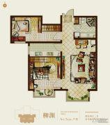 首开熙悦山熹园2室2厅1卫84平方米户型图