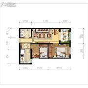 天朗玖悦都2室2厅1卫59平方米户型图