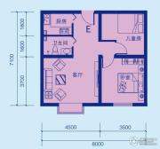 popo社区2室1厅1卫68平方米户型图