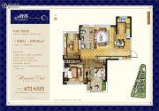 峰度3室2厅1卫96平方米户型图