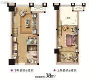 西海岸广场1室2厅1卫38平方米户型图