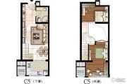 太原嘉地中心2室2厅1卫51平方米户型图