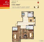 王老太君悦湾3室2厅2卫155平方米户型图