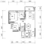 远洋天骄广场3室2厅1卫88平方米户型图