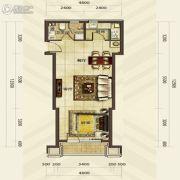 华发首府1室2厅1卫63平方米户型图