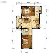 五矿・弘园2室2厅1卫84平方米户型图