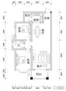 亿豪名园2室2厅1卫92平方米户型图
