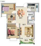 华美国际3室2厅1卫107平方米户型图