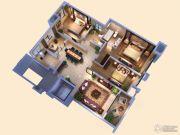 创源无想墅3室2厅2卫130平方米户型图