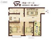 七里香堤2室1厅1卫61--66平方米户型图