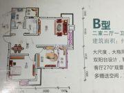 爱众.领域黄金水岸2室2厅1卫80--90平方米户型图