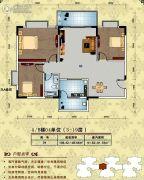 美林宏景新城3室2厅1卫106平方米户型图