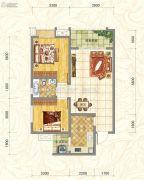 世俊国际2室2厅1卫80平方米户型图