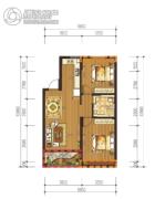 日月兴城2室2厅1卫82平方米户型图