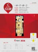 宝龙广场1室1厅1卫53平方米户型图