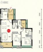 胜坚・尚城美居3室2厅2卫97--98平方米户型图