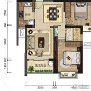 悦泰春天2室2厅1卫79平方米户型图