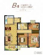 正太・周山汇水 高层3室2厅1卫95平方米户型图