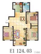 金鼎绿城3室2厅1卫124平方米户型图