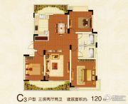 翰林华府―建湖3室2厅2卫120平方米户型图
