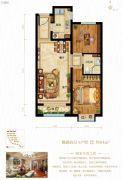 鸿坤原乡半岛2室2厅1卫84平方米户型图