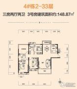 中建・江湾壹号3室2厅2卫148平方米户型图