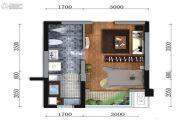 蓝光金悦派1室1厅1卫34平方米户型图