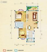弘乐府・公园1号2室2厅1卫83平方米户型图