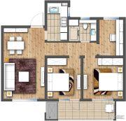 朗诗玲珑屿3室2厅1卫86平方米户型图