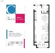 恒生艾特公寓1室1厅1卫54--66平方米户型图