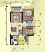 普君新城・华府2室2厅1卫76平方米户型图