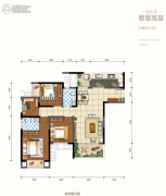 金科天元道3室2厅2卫92平方米户型图