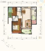 仁恒滨河湾2室2厅2卫90平方米户型图