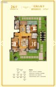 鲁商・金悦城3室2厅2卫145平方米户型图