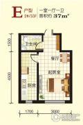 江畔阳光1室1厅1卫37平方米户型图