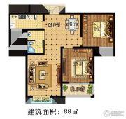 林溪湾2室2厅1卫88平方米户型图