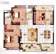 凯得文化广场3室2厅2卫127平方米户型图