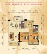 花畔里3室2厅2卫84平方米户型图