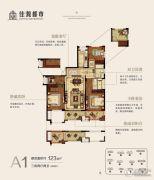 佳源都市3室2厅2卫123平方米户型图