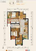 华润・中央公园3室2厅1卫87平方米户型图