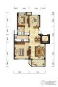 光明・褐石公元3室2厅1卫87平方米户型图