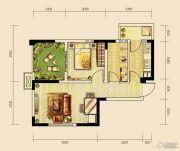 世茂城2室2厅1卫54平方米户型图