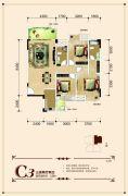 联发・君澜天地3室2厅2卫120平方米户型图