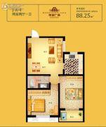 荣安广场2室2厅1卫88平方米户型图