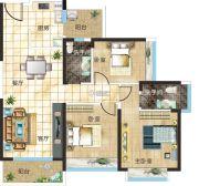 汇美豪庭3室2厅2卫97平方米户型图