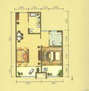 保利华庭1室2厅1卫0平方米户型图