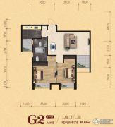 松江宁越花园2室2厅2卫89平方米户型图