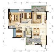 宏联・美誉名座3室2厅1卫89平方米户型图