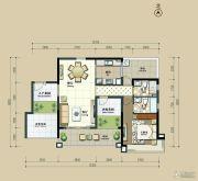 丽港华府3室2厅2卫104平方米户型图