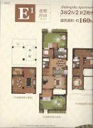 中建中央公园3室2厅2卫160平方米户型图